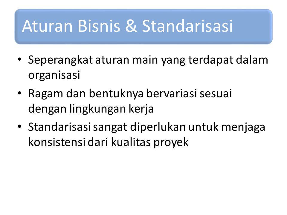 Aturan Bisnis & Standarisasi Seperangkat aturan main yang terdapat dalam organisasi Ragam dan bentuknya bervariasi sesuai dengan lingkungan kerja Stan