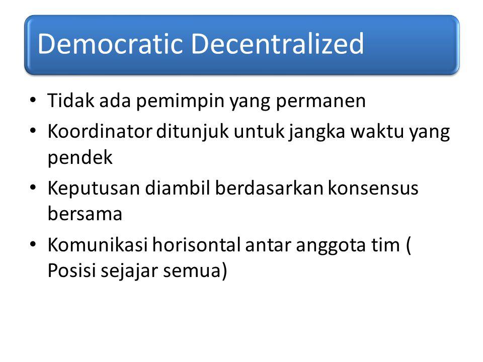 Democratic Decentralized Tidak ada pemimpin yang permanen Koordinator ditunjuk untuk jangka waktu yang pendek Keputusan diambil berdasarkan konsensus