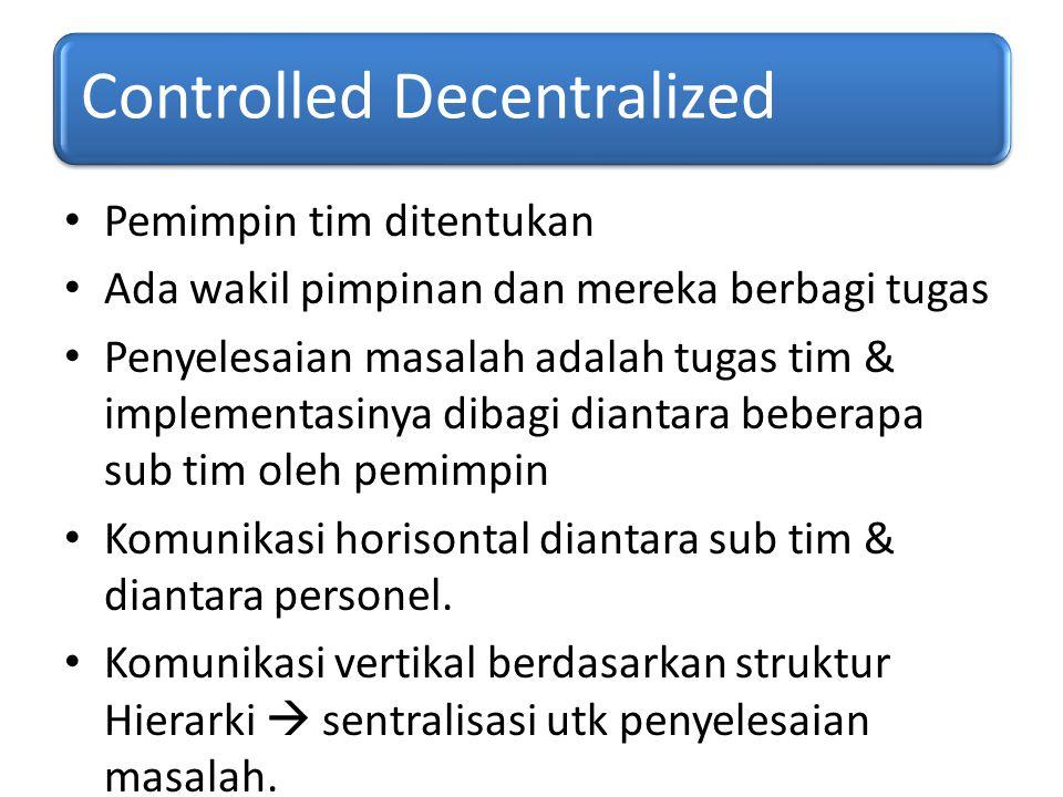 Controlled Decentralized Pemimpin tim ditentukan Ada wakil pimpinan dan mereka berbagi tugas Penyelesaian masalah adalah tugas tim & implementasinya d
