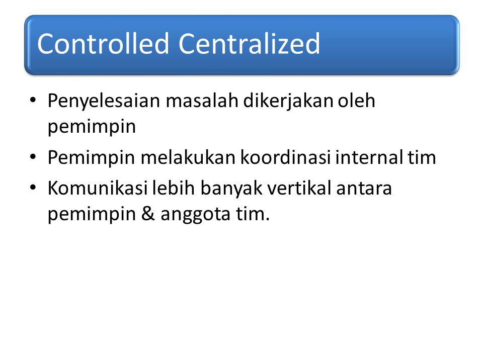 Controlled Centralized Penyelesaian masalah dikerjakan oleh pemimpin Pemimpin melakukan koordinasi internal tim Komunikasi lebih banyak vertikal antar