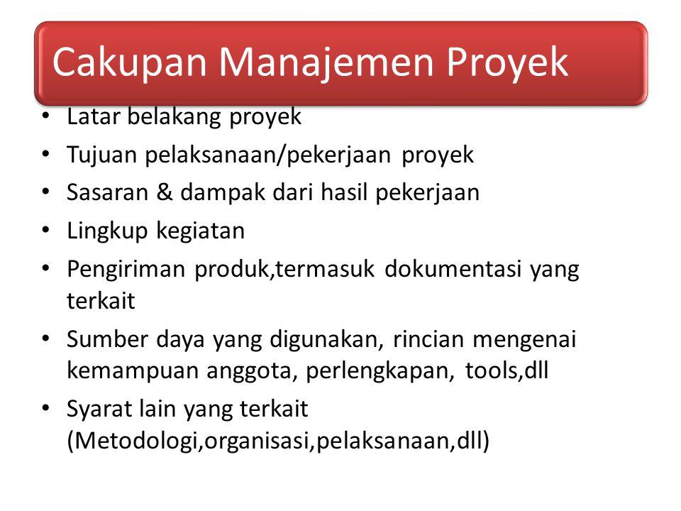 Cakupan Manajemen Proyek Latar belakang proyek Tujuan pelaksanaan/pekerjaan proyek Sasaran & dampak dari hasil pekerjaan Lingkup kegiatan Pengiriman p
