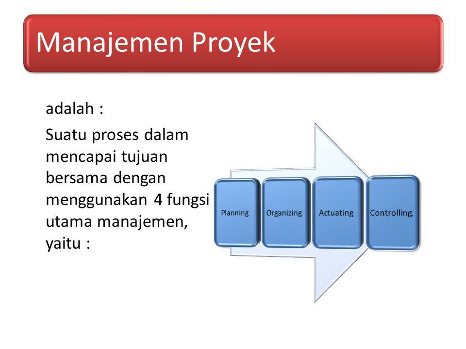 Manajemen Proyek adalah : Suatu proses dalam mencapai tujuan bersama dengan menggunakan 4 fungsi utama manajemen, yaitu :
