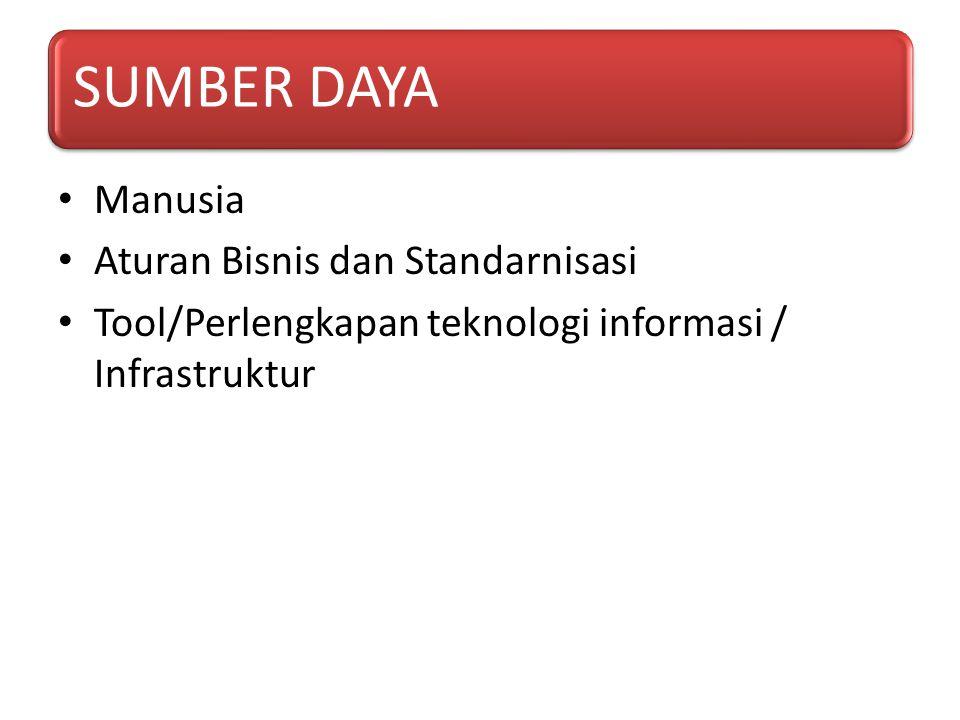 SUMBER DAYA Manusia Aturan Bisnis dan Standarnisasi Tool/Perlengkapan teknologi informasi / Infrastruktur