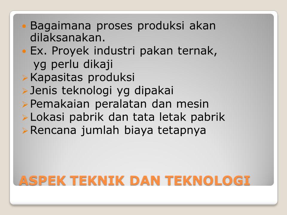 ASPEK TEKNIK DAN TEKNOLOGI Bagaimana proses produksi akan dilaksanakan. Ex. Proyek industri pakan ternak, yg perlu dikaji  Kapasitas produksi  Jenis