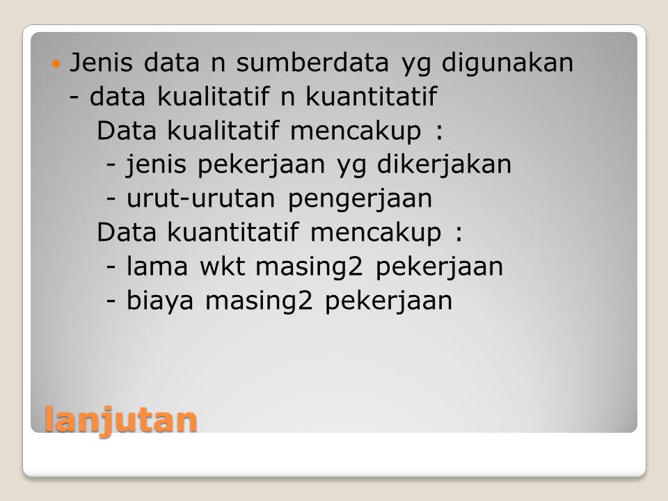 lanjutan Jenis data n sumberdata yg digunakan - data kualitatif n kuantitatif Data kualitatif mencakup : - jenis pekerjaan yg dikerjakan - urut-urutan