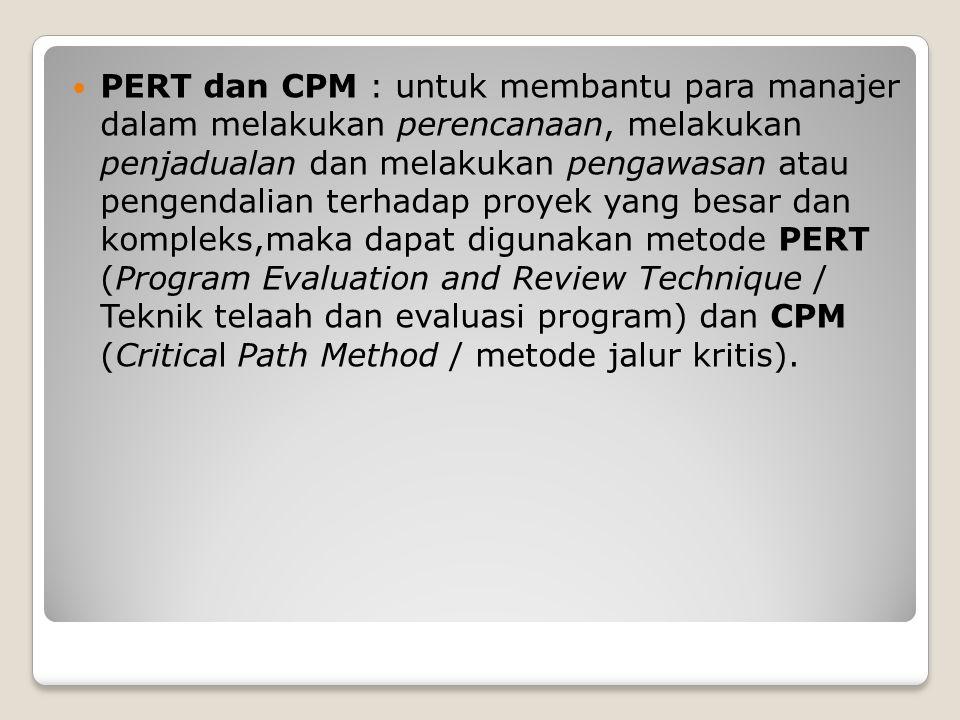 PERT dan CPM : untuk membantu para manajer dalam melakukan perencanaan, melakukan penjadualan dan melakukan pengawasan atau pengendalian terhadap proy