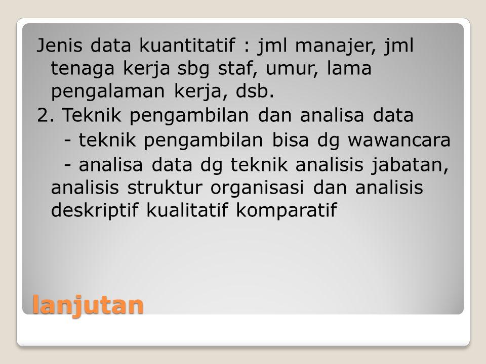 lanjutan Jenis data kuantitatif : jml manajer, jml tenaga kerja sbg staf, umur, lama pengalaman kerja, dsb. 2. Teknik pengambilan dan analisa data - t