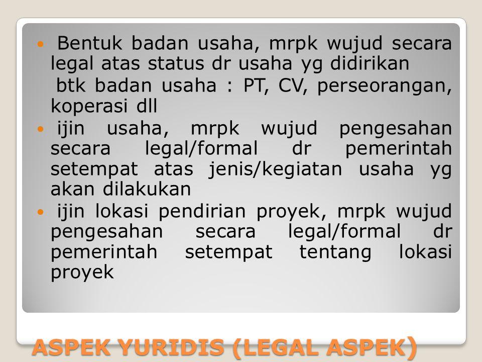ASPEK YURIDIS (LEGAL ASPEK ) Bentuk badan usaha, mrpk wujud secara legal atas status dr usaha yg didirikan btk badan usaha : PT, CV, perseorangan, kop