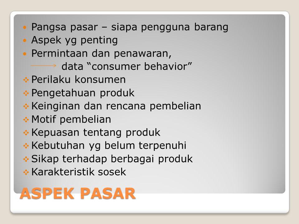 """ASPEK PASAR Pangsa pasar – siapa pengguna barang Aspek yg penting Permintaan dan penawaran, data """"consumer behavior""""  Perilaku konsumen  Pengetahuan"""