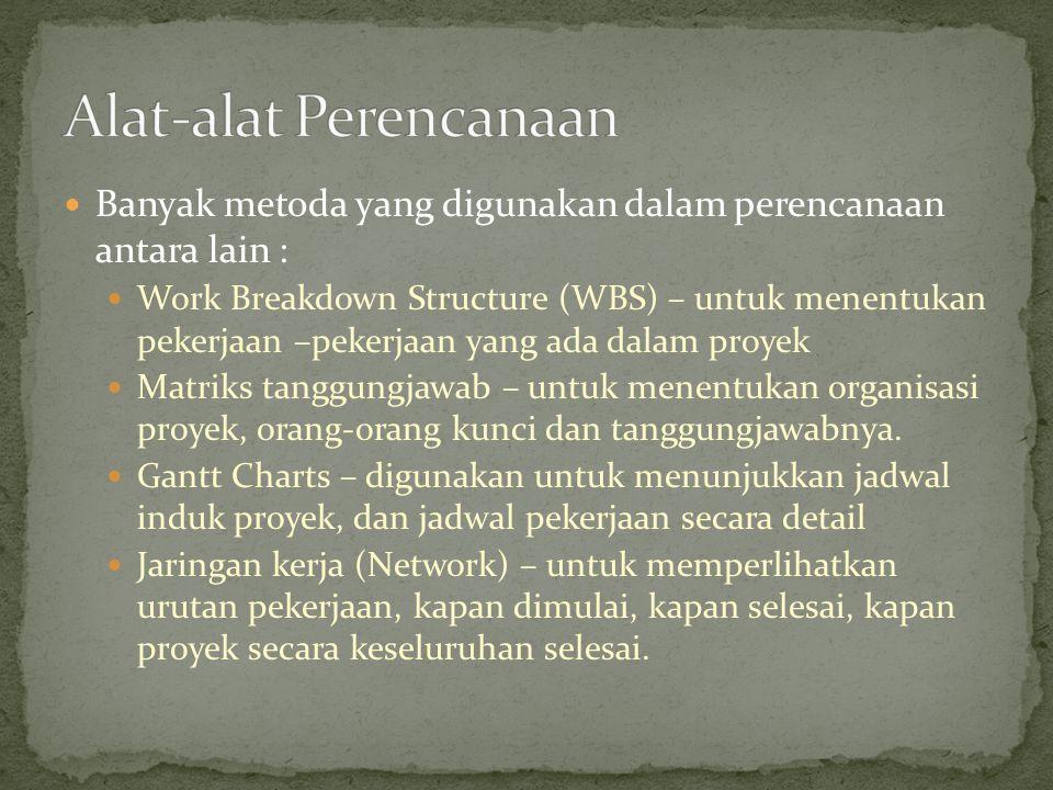 Banyak metoda yang digunakan dalam perencanaan antara lain : Work Breakdown Structure (WBS) – untuk menentukan pekerjaan –pekerjaan yang ada dalam pro