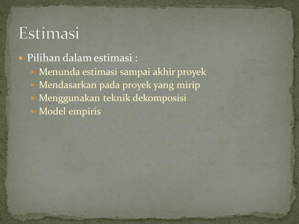 Pilihan dalam estimasi : Menunda estimasi sampai akhir proyek Mendasarkan pada proyek yang mirip Menggunakan teknik dekomposisi Model empiris