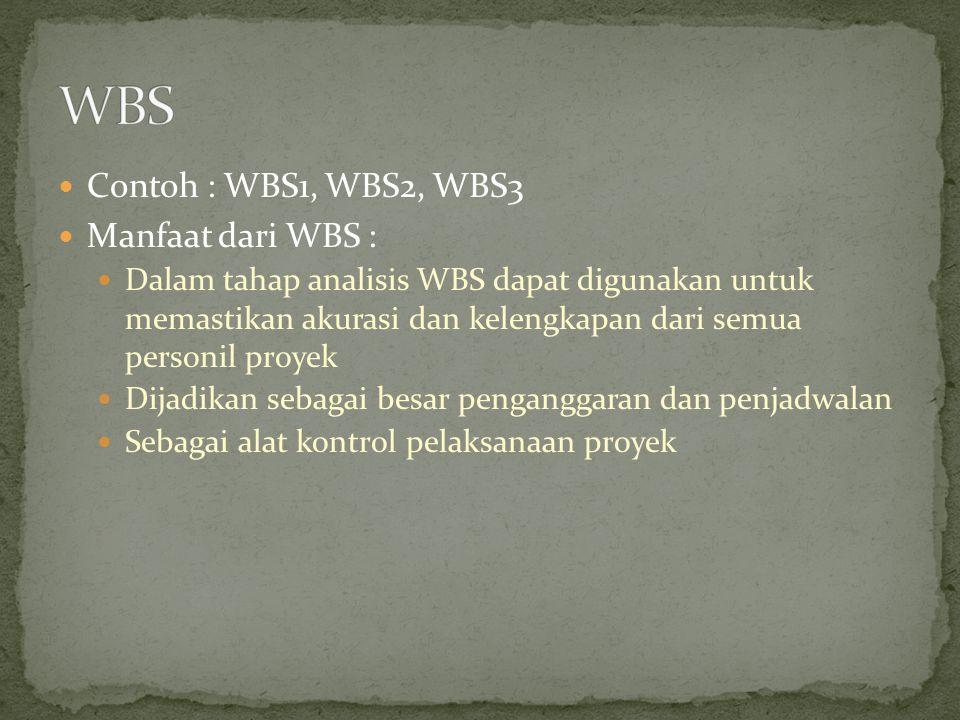 Contoh : WBS1, WBS2, WBS3 Manfaat dari WBS : Dalam tahap analisis WBS dapat digunakan untuk memastikan akurasi dan kelengkapan dari semua personil pro