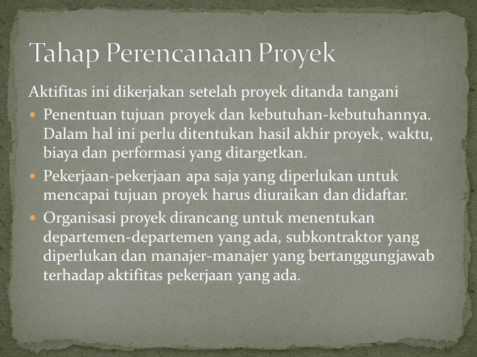 Aktifitas ini dikerjakan setelah proyek ditanda tangani Penentuan tujuan proyek dan kebutuhan-kebutuhannya. Dalam hal ini perlu ditentukan hasil akhir