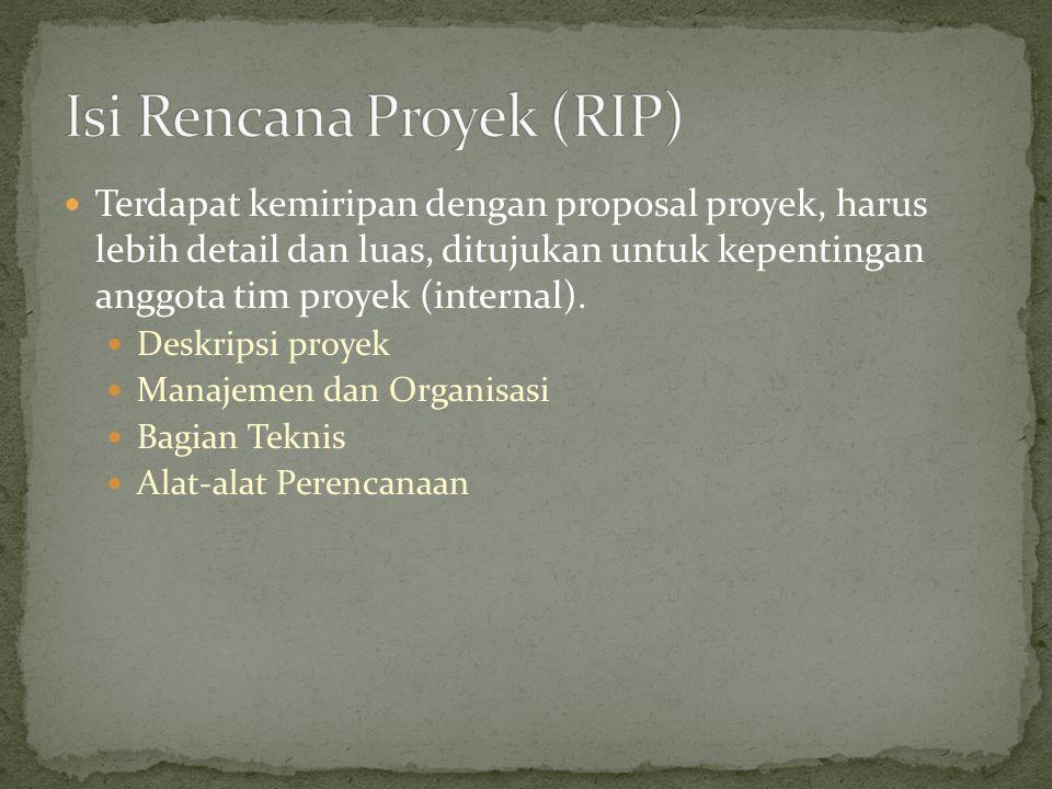 Terdapat kemiripan dengan proposal proyek, harus lebih detail dan luas, ditujukan untuk kepentingan anggota tim proyek (internal). Deskripsi proyek Ma