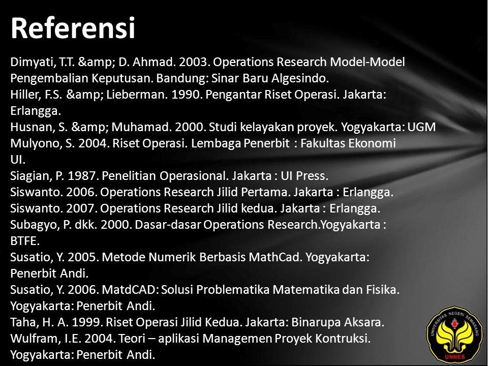 Referensi Dimyati, T.T. & D. Ahmad. 2003. Operations Research Model-Model Pengembalian Keputusan. Bandung: Sinar Baru Algesindo. Hiller, F.S. &amp