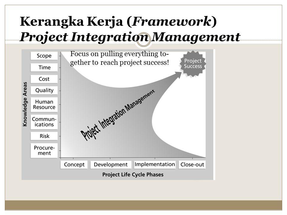 Kunci Suksesnya Keseluruhan Proyek: Good Project Integration Management Manajer proyek harus mengkoordinasikan semua area pengetahuan yang lain dalam seluruh tahapan life cycle proyek Beberapa manajer proyek baru memiliki permasalahan dalam melihat big picture dan selalu ingin untuk fokus pada beberapa detil saja Project integration management tidak sama dengan software integrasi