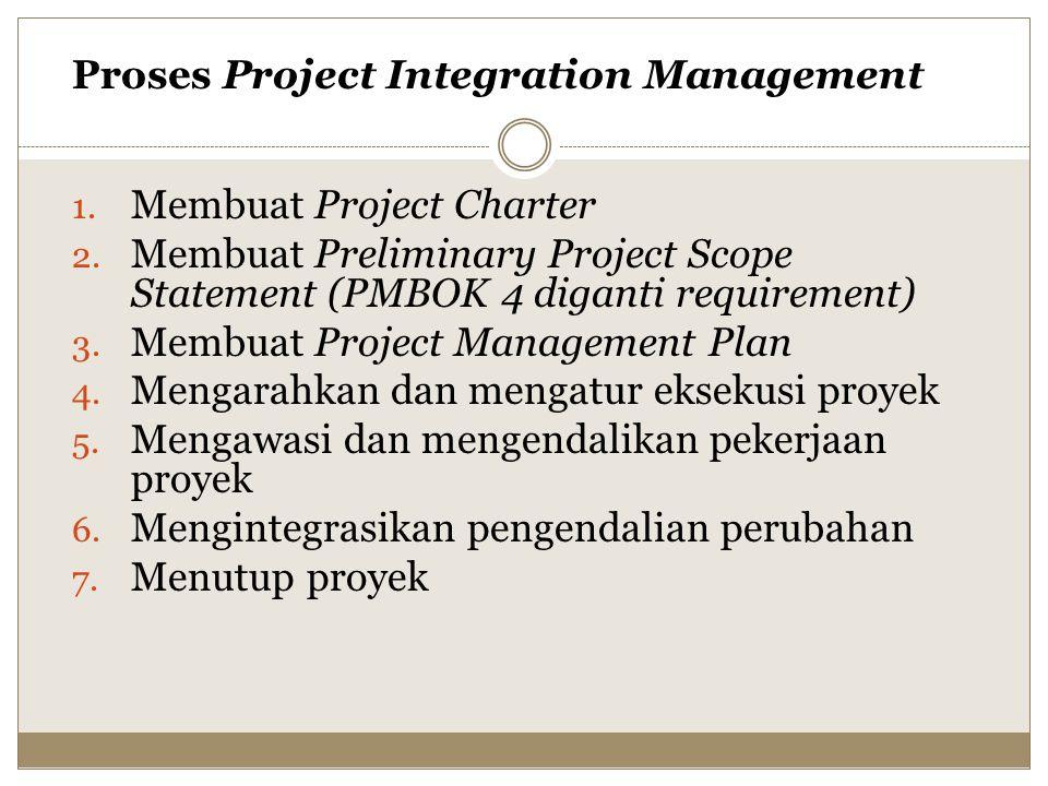 Proses Project Integration Management 1.Membuat Project Charter 2.