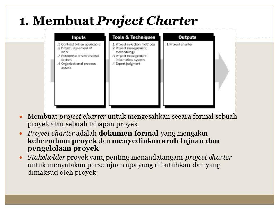 Membuat project charter untuk mengesahkan secara formal sebuah proyek atau sebuah tahapan proyek Project charter adalah dokumen formal yang mengakui keberadaan proyek dan menyediakan arah tujuan dan pengelolaan proyek Stakeholder proyek yang penting menandatangani project charter untuk menyatakan persetujuan apa yang dibutuhkan dan yang dimaksud oleh proyek 1.
