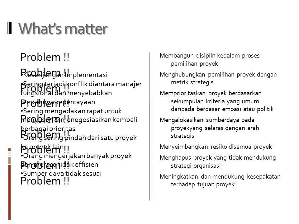 What's matter Problem !! Membangun disiplin kedalam proses pemilihan proyek Menghubungkan pemilihan proyek dengan metrik strategis Memprioritaskan pro