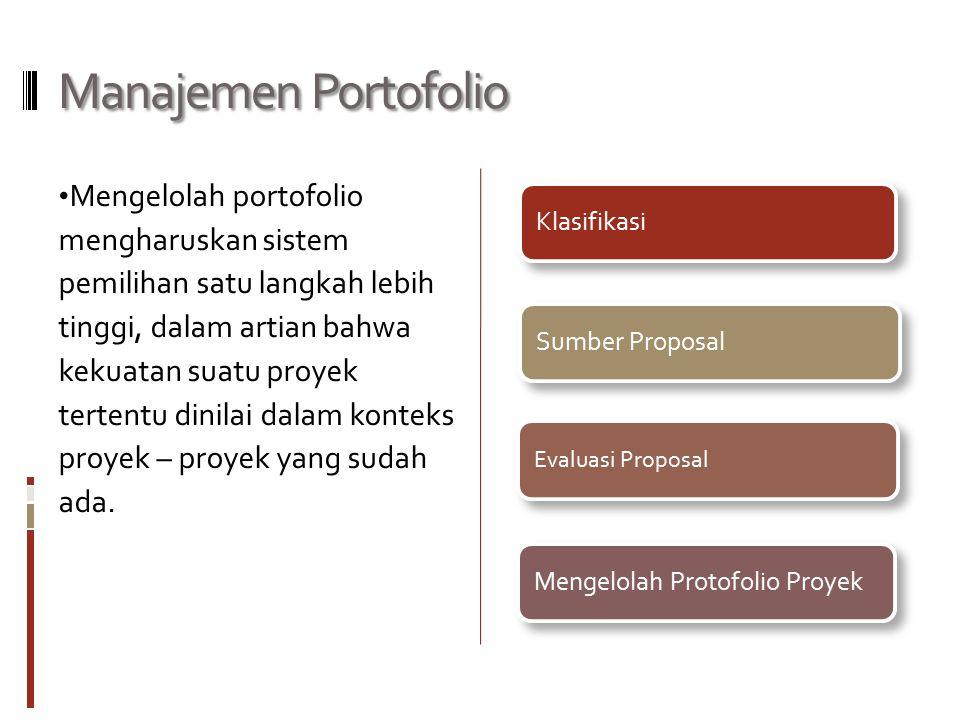 Manajemen Portofolio Mengelolah portofolio mengharuskan sistem pemilihan satu langkah lebih tinggi, dalam artian bahwa kekuatan suatu proyek tertentu dinilai dalam konteks proyek – proyek yang sudah ada.