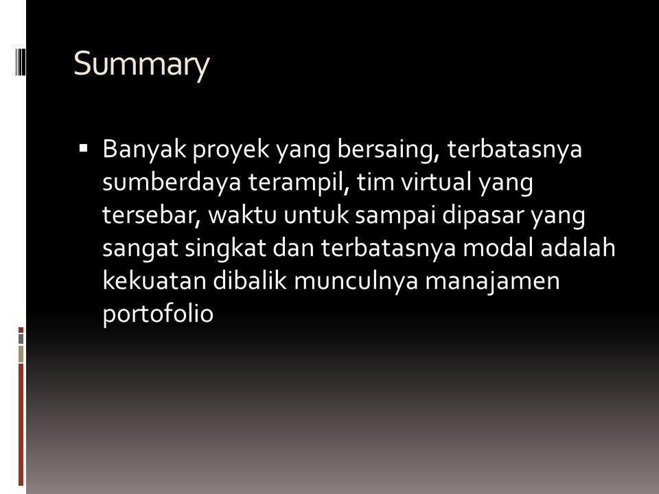 Summary BBanyak proyek yang bersaing, terbatasnya sumberdaya terampil, tim virtual yang tersebar, waktu untuk sampai dipasar yang sangat singkat dan terbatasnya modal adalah kekuatan dibalik munculnya manajamen portofolio
