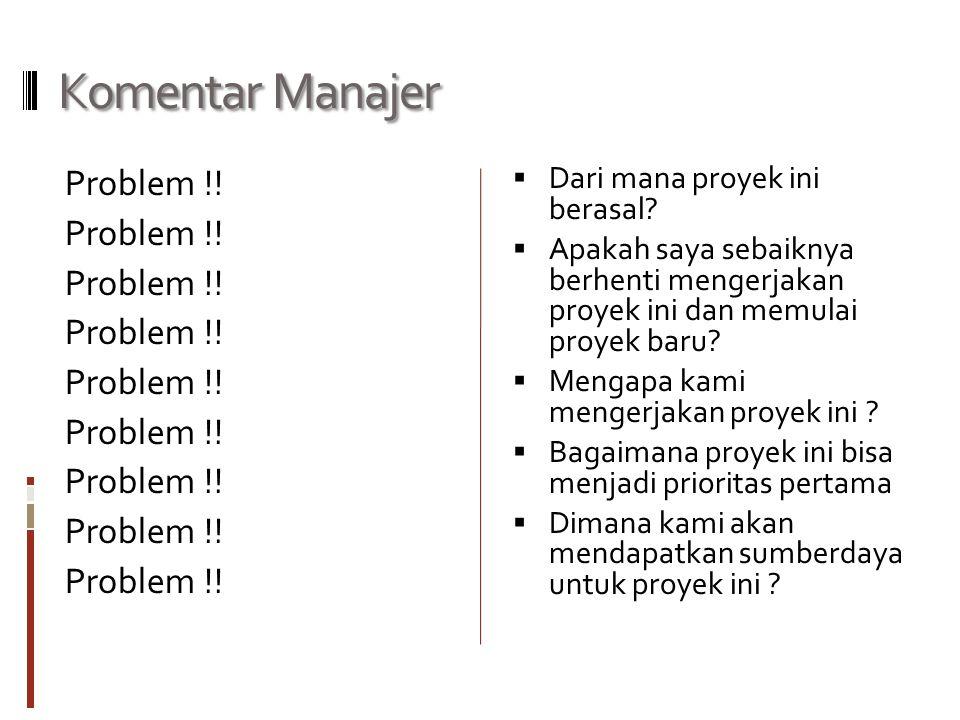 Komentar Manajer Problem !.  Dari mana proyek ini berasal.