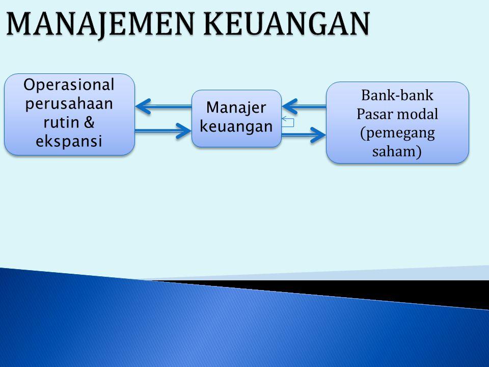 Manajer keuangan Bank-bank Pasar modal (pemegang saham) Bank-bank Pasar modal (pemegang saham) Operasional perusahaan rutin & ekspansi