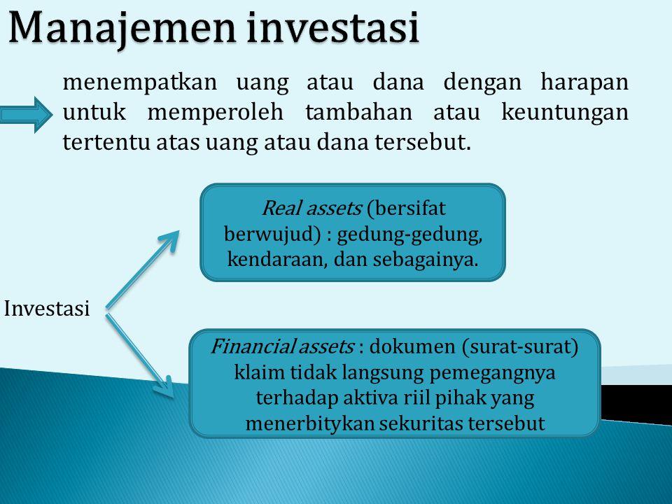 menempatkan uang atau dana dengan harapan untuk memperoleh tambahan atau keuntungan tertentu atas uang atau dana tersebut. Investasi Real assets (bers