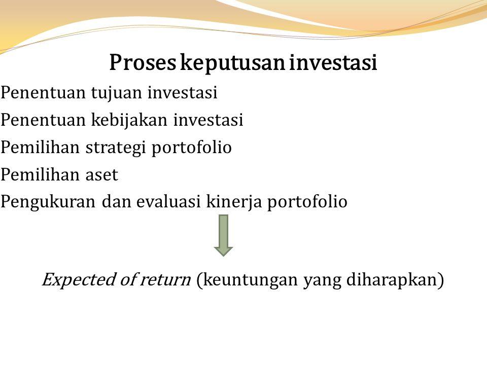 Proses keputusan investasi Penentuan tujuan investasi Penentuan kebijakan investasi Pemilihan strategi portofolio Pemilihan aset Pengukuran dan evalua