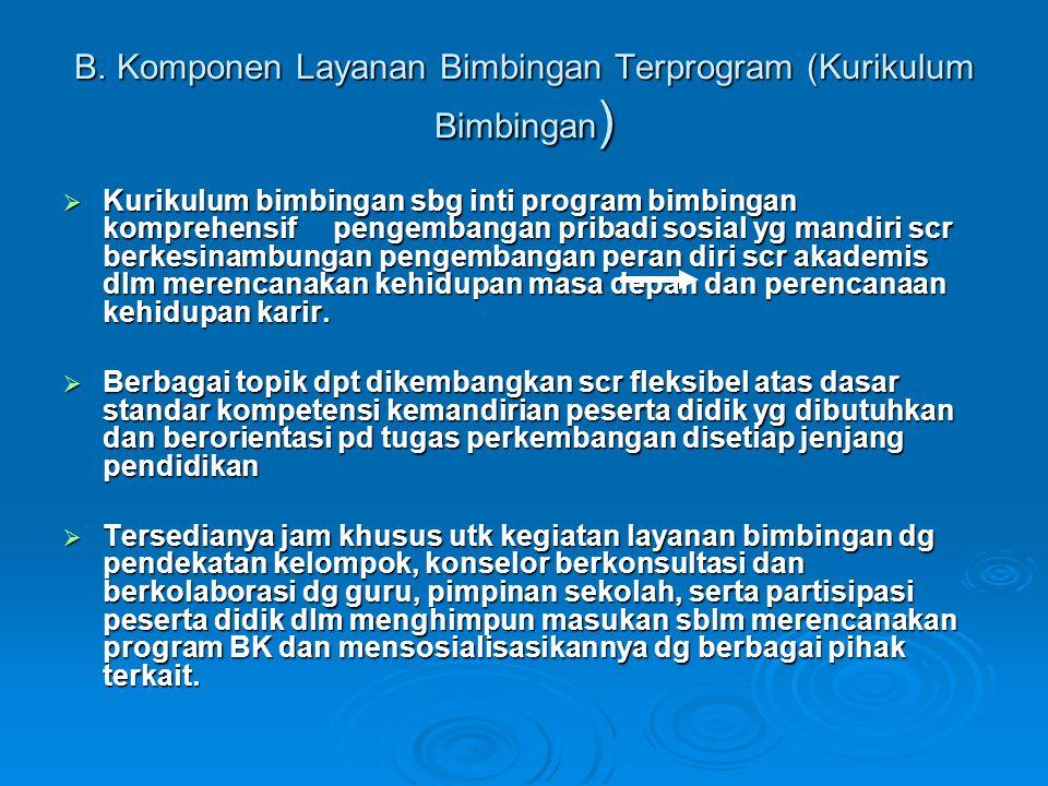 B. Komponen Layanan Bimbingan Terprogram (Kurikulum Bimbingan )  Kurikulum bimbingan sbg inti program bimbingan komprehensif pengembangan pribadi sos