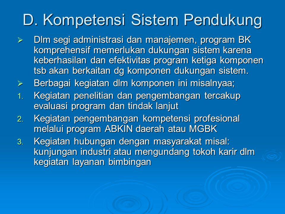 D. Kompetensi Sistem Pendukung  Dlm segi administrasi dan manajemen, program BK komprehensif memerlukan dukungan sistem karena keberhasilan dan efekt