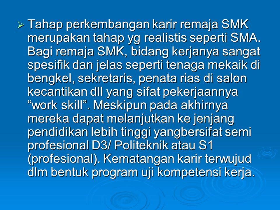  Tahap perkembangan karir remaja SMK merupakan tahap yg realistis seperti SMA. Bagi remaja SMK, bidang kerjanya sangat spesifik dan jelas seperti ten
