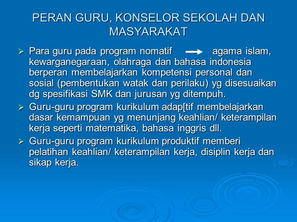 PERAN GURU, KONSELOR SEKOLAH DAN MASYARAKAT  Para guru pada program nomatif agama islam, kewarganegaraan, olahraga dan bahasa indonesia berperan memb