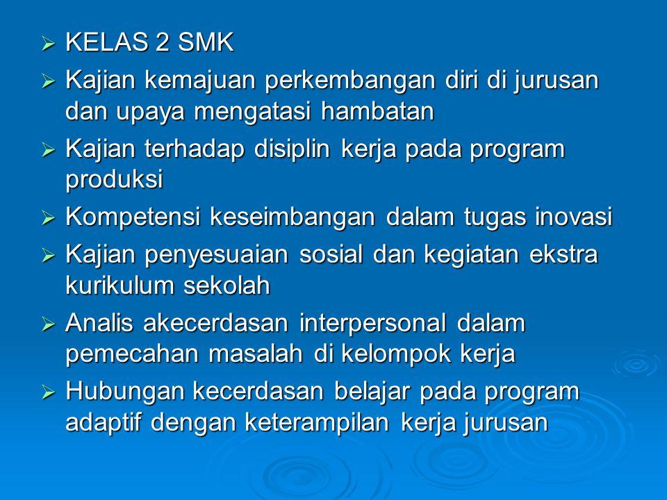  KELAS 2 SMK  Kajian kemajuan perkembangan diri di jurusan dan upaya mengatasi hambatan  Kajian terhadap disiplin kerja pada program produksi  Kom