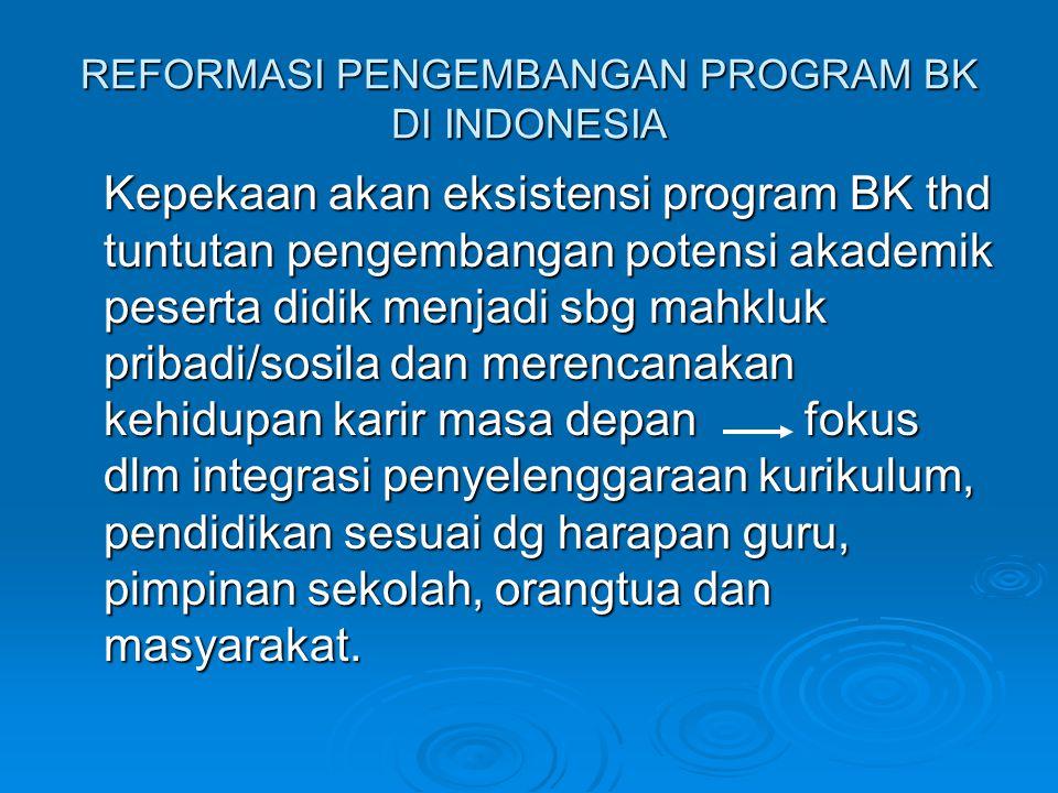 REFORMASI PENGEMBANGAN PROGRAM BK DI INDONESIA Kepekaan akan eksistensi program BK thd tuntutan pengembangan potensi akademik peserta didik menjadi sb
