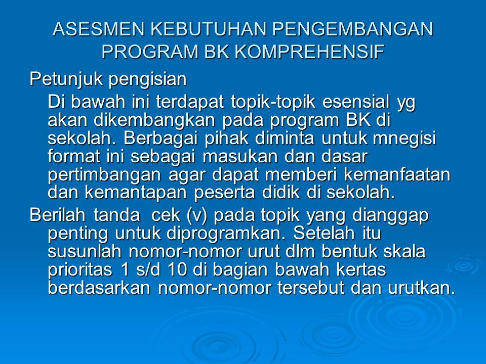ASESMEN KEBUTUHAN PENGEMBANGAN PROGRAM BK KOMPREHENSIF Petunjuk pengisian Di bawah ini terdapat topik-topik esensial yg akan dikembangkan pada program