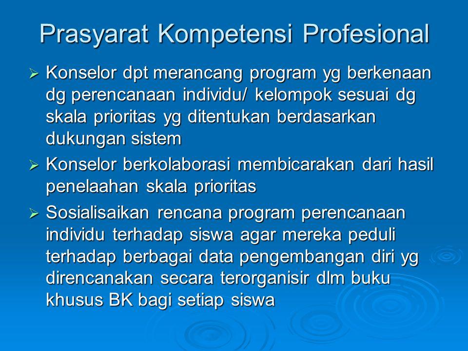 Prasyarat Kompetensi Profesional  Konselor dpt merancang program yg berkenaan dg perencanaan individu/ kelompok sesuai dg skala prioritas yg ditentuk