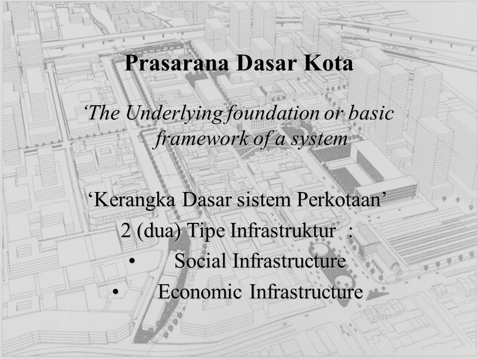 Prasarana Dasar Kota 'The Underlying foundation or basic framework of a system 'Kerangka Dasar sistem Perkotaan' 2 (dua) Tipe Infrastruktur : Social I