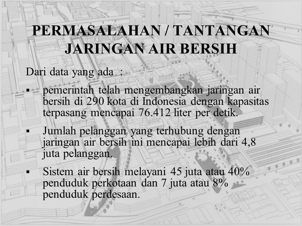 PERMASALAHAN / TANTANGAN JARINGAN AIR BERSIH Dari data yang ada :  pemerintah telah mengembangkan jaringan air bersih di 290 kota di Indonesia dengan