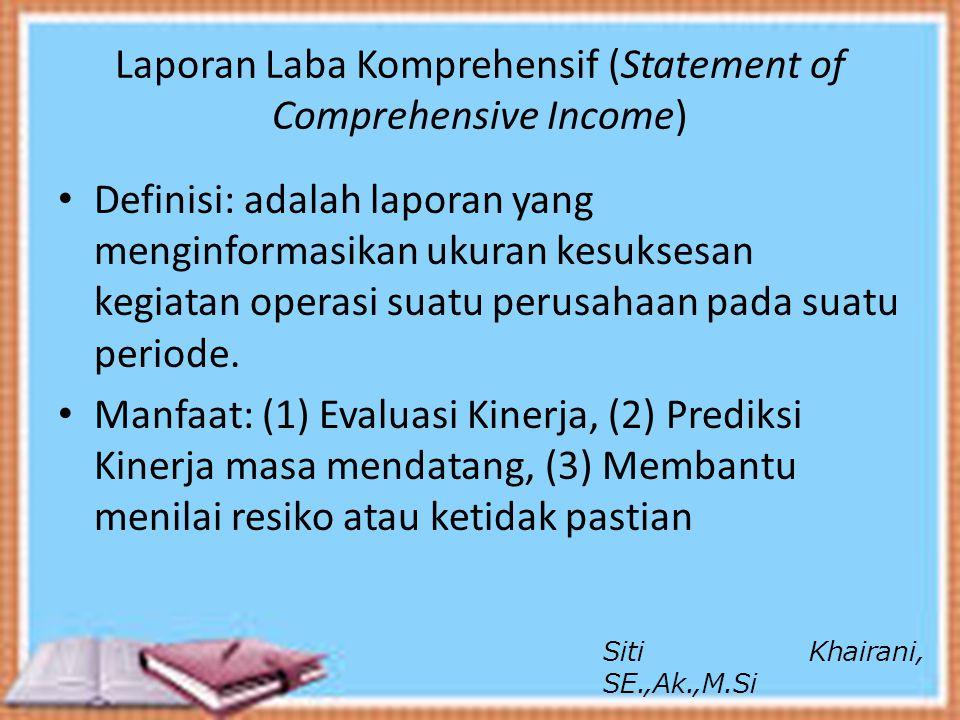 Laporan Laba Komprehensif (Statement of Comprehensive Income) Definisi: adalah laporan yang menginformasikan ukuran kesuksesan kegiatan operasi suatu
