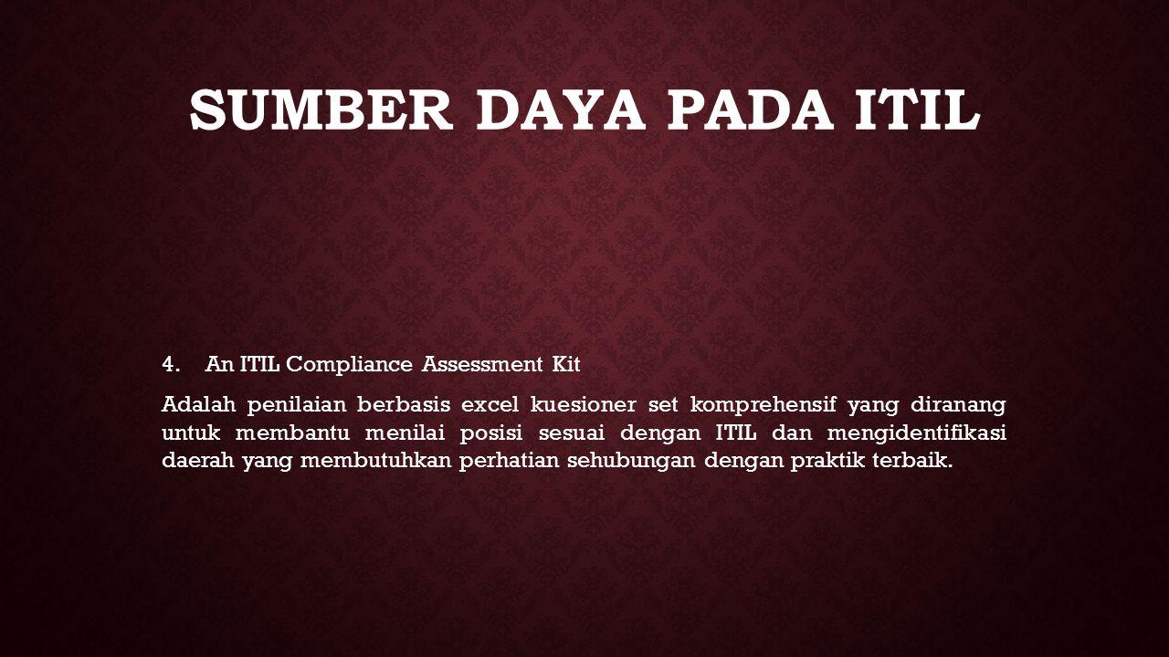 SUMBER DAYA PADA ITIL 4. 4.An ITIL Compliance Assessment Kit Adalah penilaian berbasis excel kuesioner set komprehensif yang diranang untuk membantu m