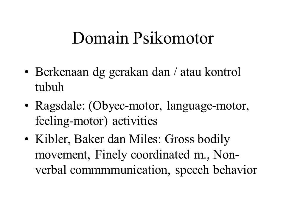 Domain Afektif Berkenaan dg perilaku perasaan atau emosi 6 kategori: Menerima/memperhatikan, Menanggapi, Menilai, Mengorganisasi, dan Karakteristik Ni