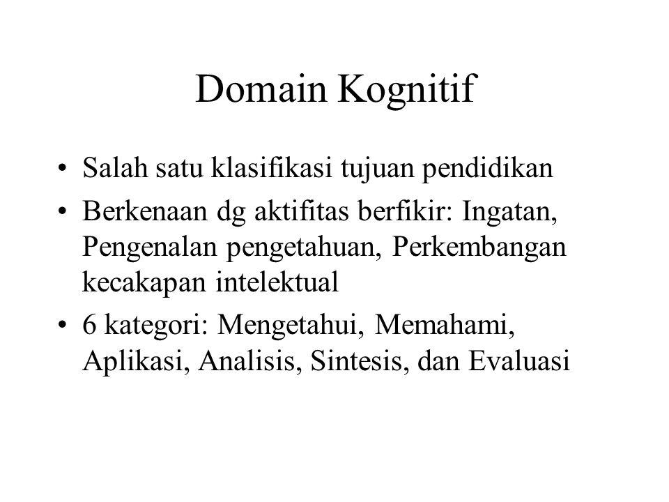 DOMAIN TUJUAN PEND Domain Kognitif Domain Afektif Domain Psikomotor Domain Fisik