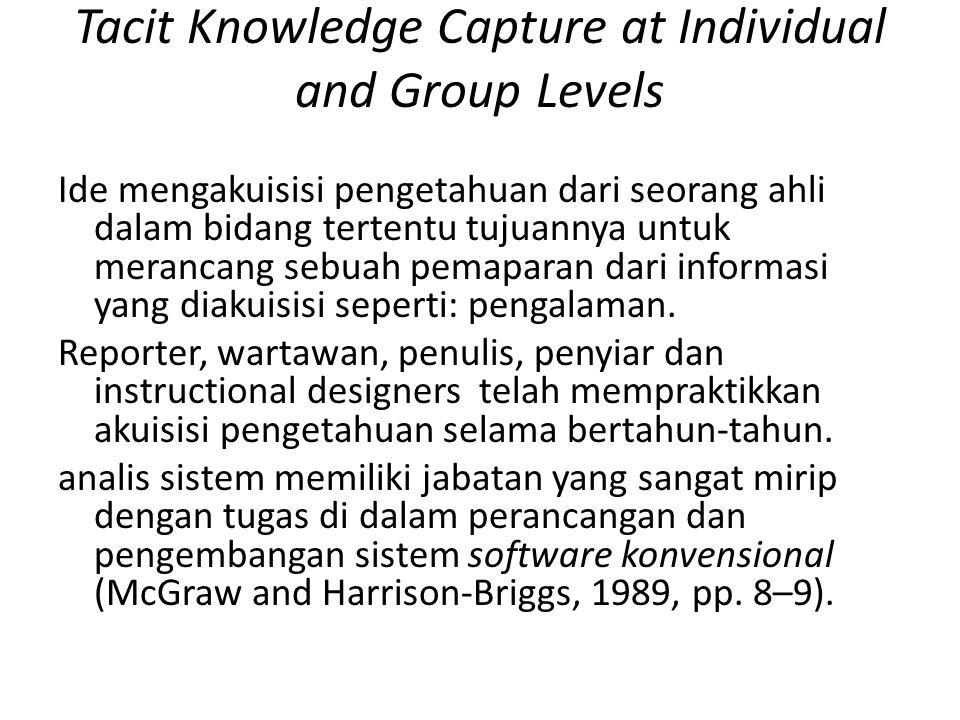 Tacit Knowledge Capture at Individual and Group Levels Ide mengakuisisi pengetahuan dari seorang ahli dalam bidang tertentu tujuannya untuk merancang