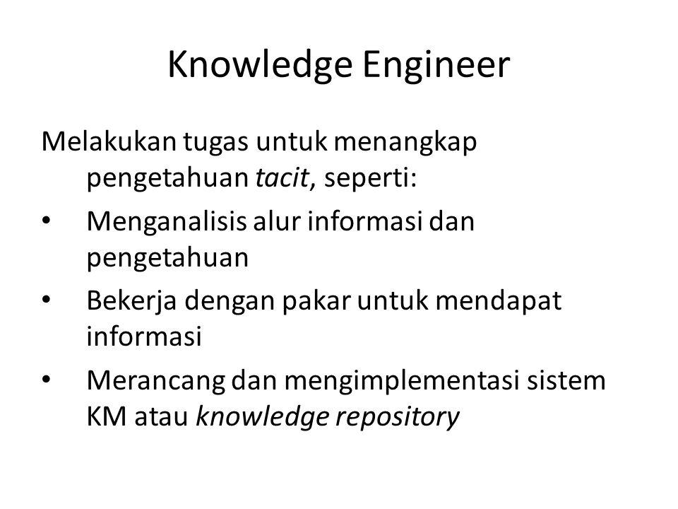 Knowledge Engineer Melakukan tugas untuk menangkap pengetahuan tacit, seperti: Menganalisis alur informasi dan pengetahuan Bekerja dengan pakar untuk