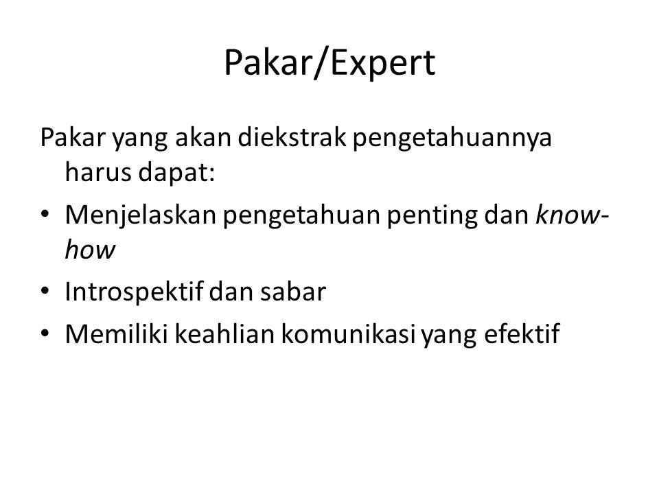Pakar/Expert Pakar yang akan diekstrak pengetahuannya harus dapat: Menjelaskan pengetahuan penting dan know- how Introspektif dan sabar Memiliki keahl