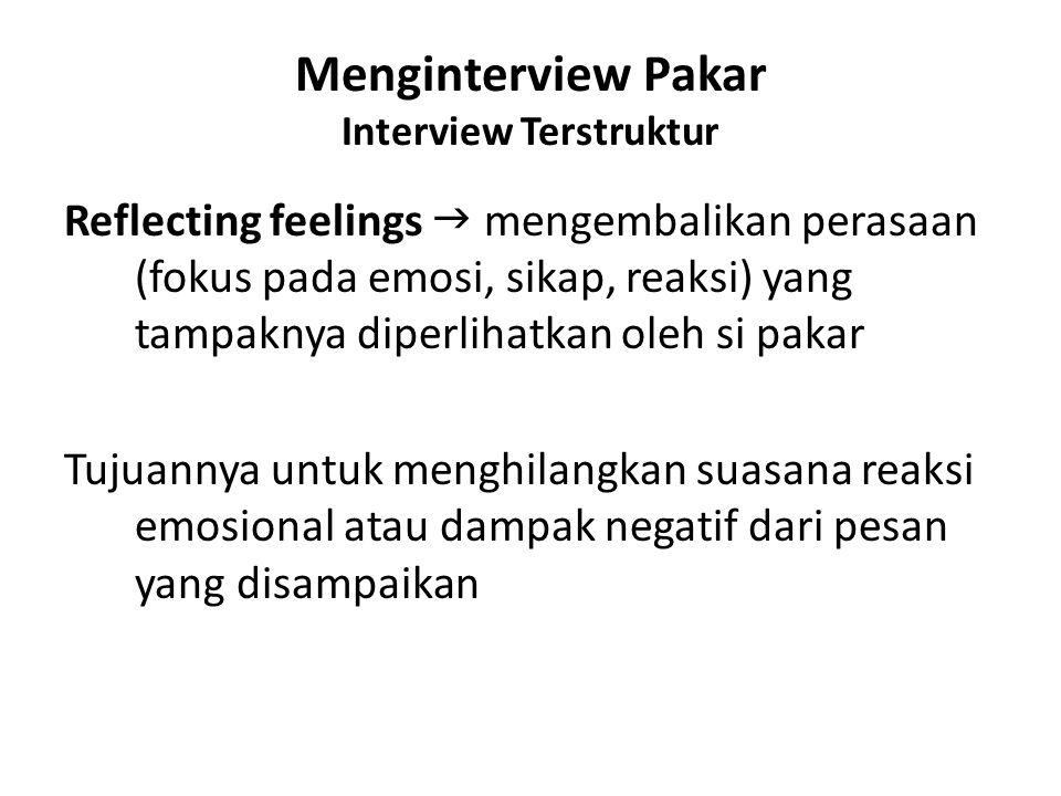 Menginterview Pakar Interview Terstruktur Reflecting feelings  mengembalikan perasaan (fokus pada emosi, sikap, reaksi) yang tampaknya diperlihatkan