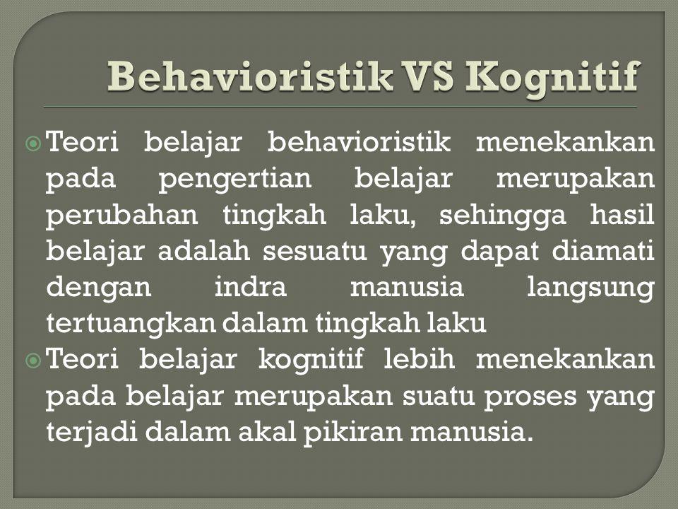  Teori belajar behavioristik menekankan pada pengertian belajar merupakan perubahan tingkah laku, sehingga hasil belajar adalah sesuatu yang dapat di