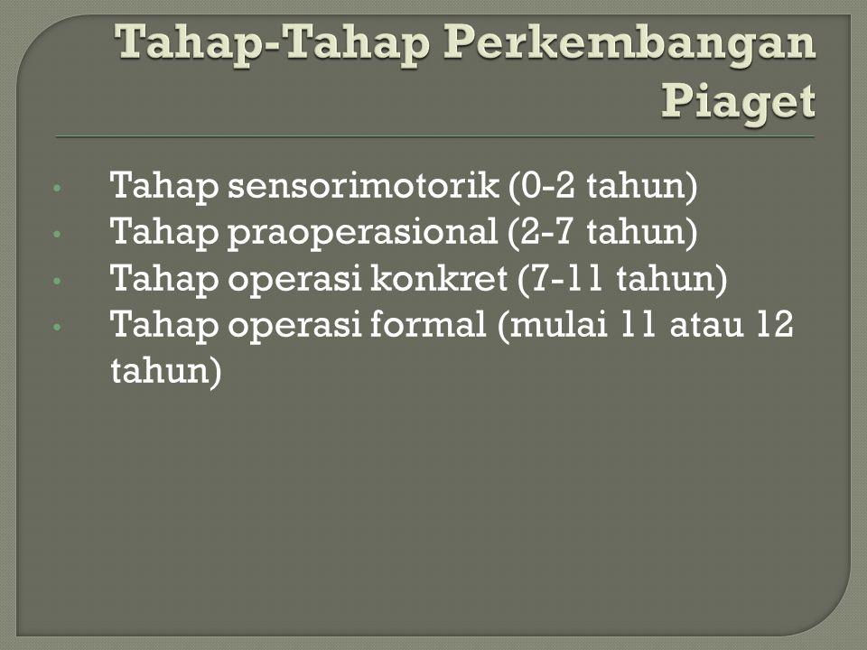 Tahap sensorimotorik (0-2 tahun) Tahap praoperasional (2-7 tahun) Tahap operasi konkret (7-11 tahun) Tahap operasi formal (mulai 11 atau 12 tahun)