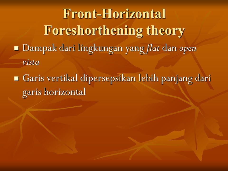 Front-Horizontal Foreshorthening theory Dampak dari lingkungan yang flat dan open vista Dampak dari lingkungan yang flat dan open vista Garis vertikal dipersepsikan lebih panjang dari garis horizontal Garis vertikal dipersepsikan lebih panjang dari garis horizontal